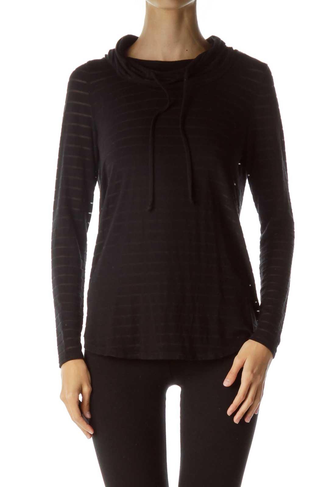 Black Sheet Knit Sweater Front