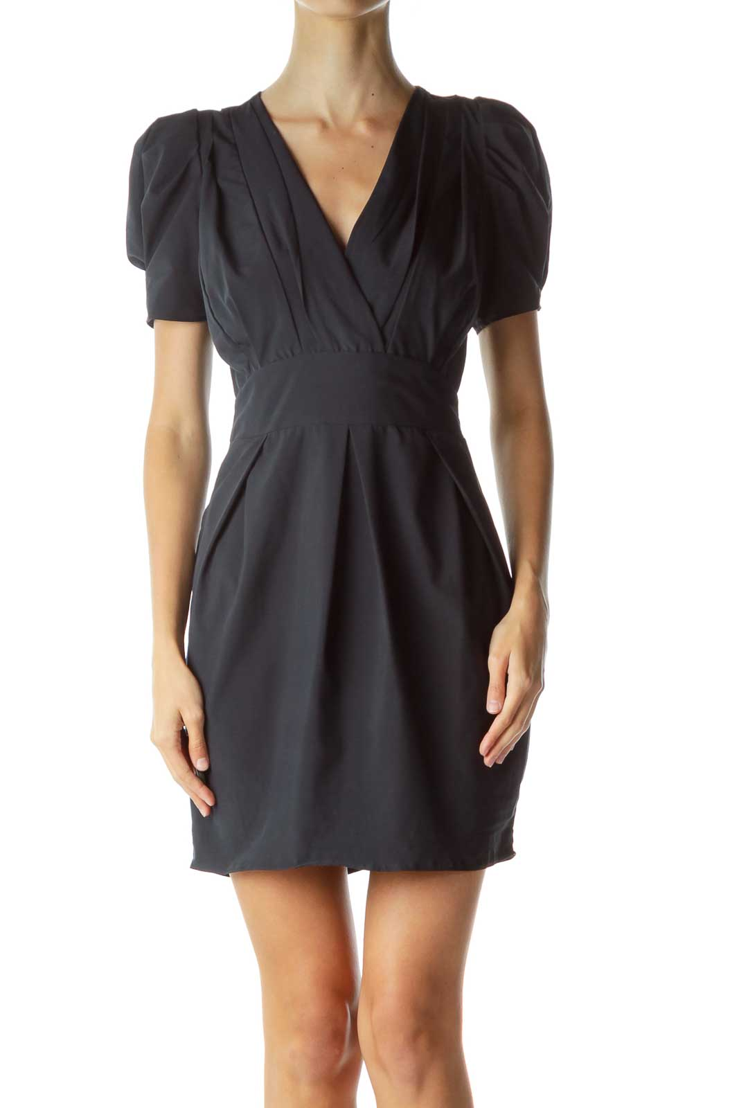 Navy Open-Back Cocktail Dress Front