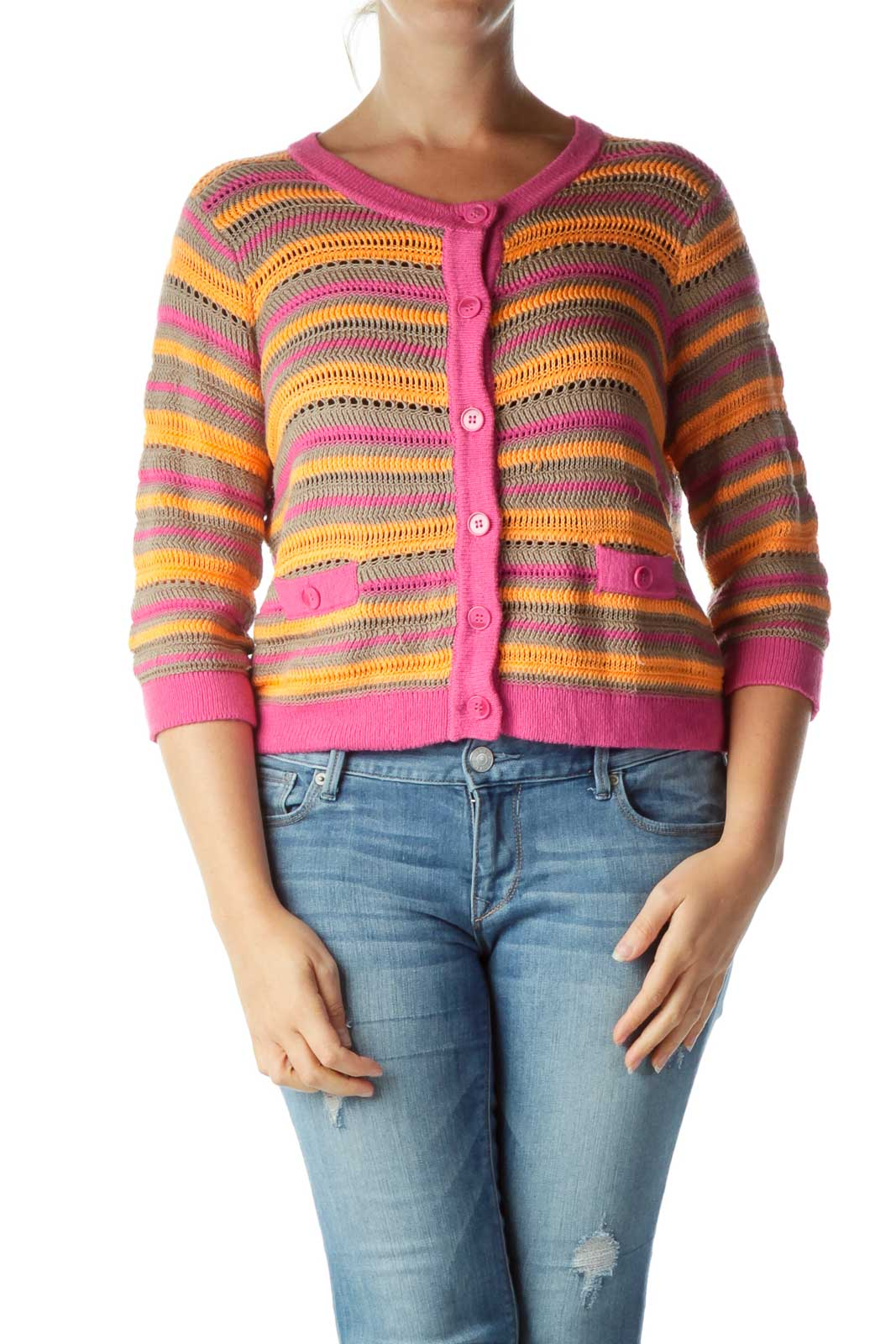 Pink Orange Cable Knit Cardigan Front