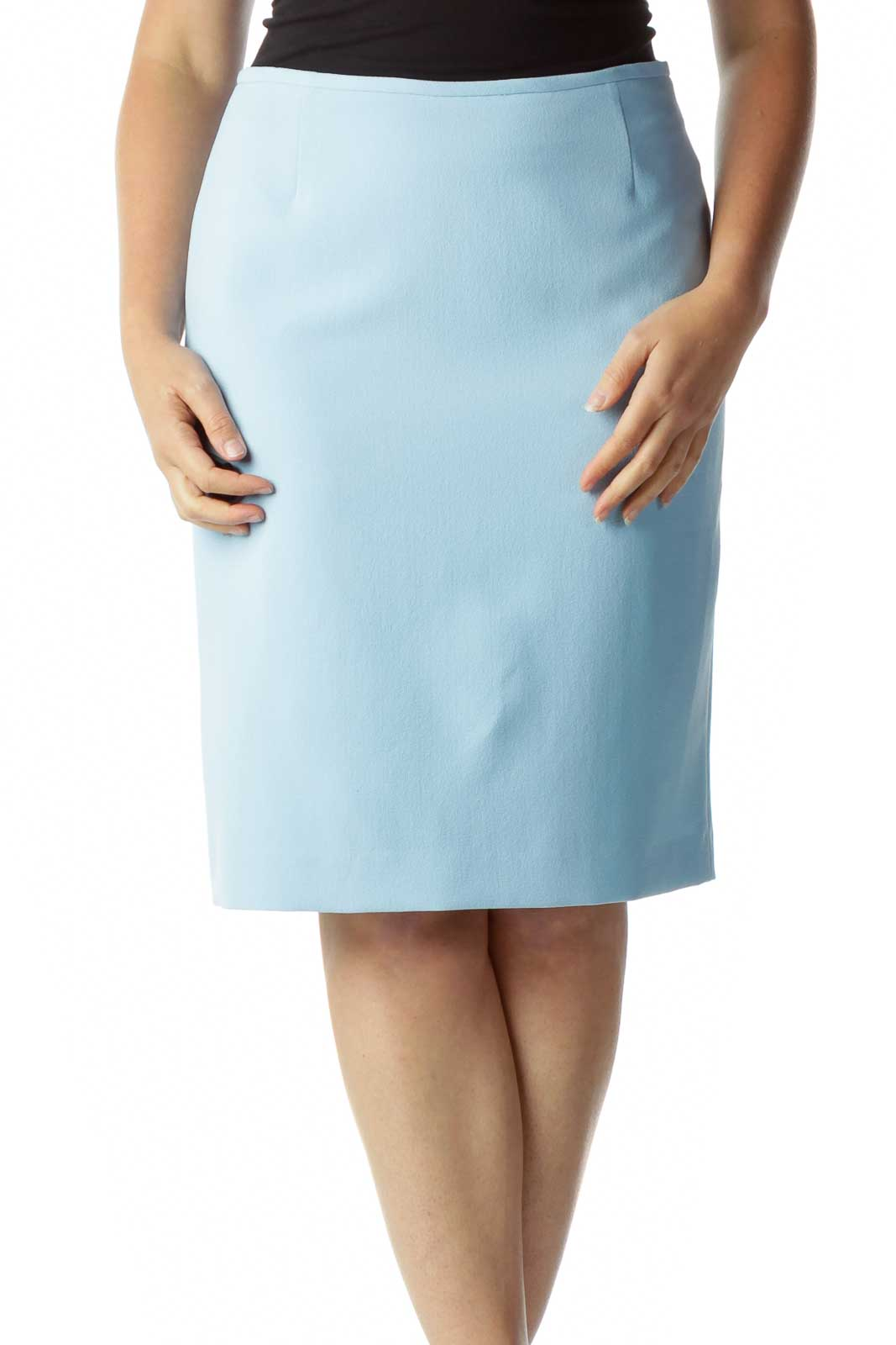 Blue Pencil Skirt Front