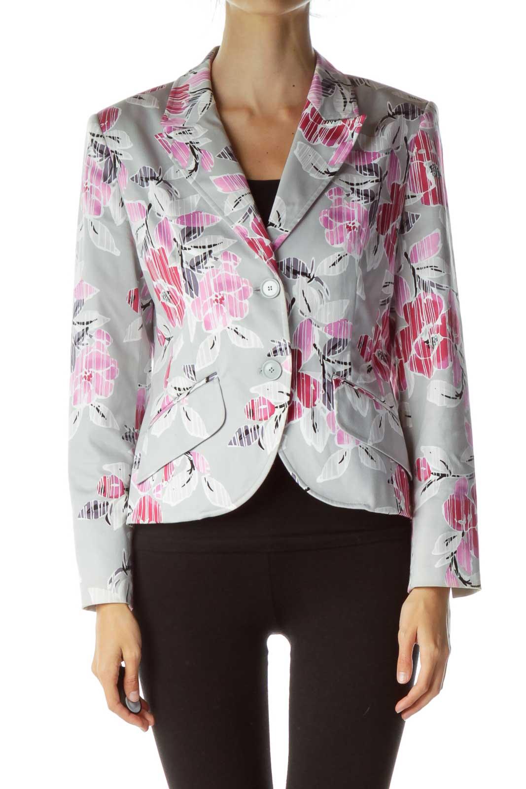 Gray Pink Flower Print Blazer Front