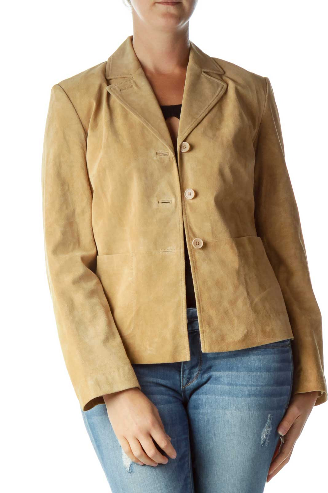 Beige Leather Buttoned Jacket Front
