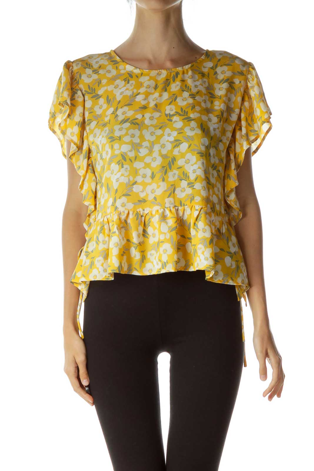Yellow White Floral Print Blouse Front