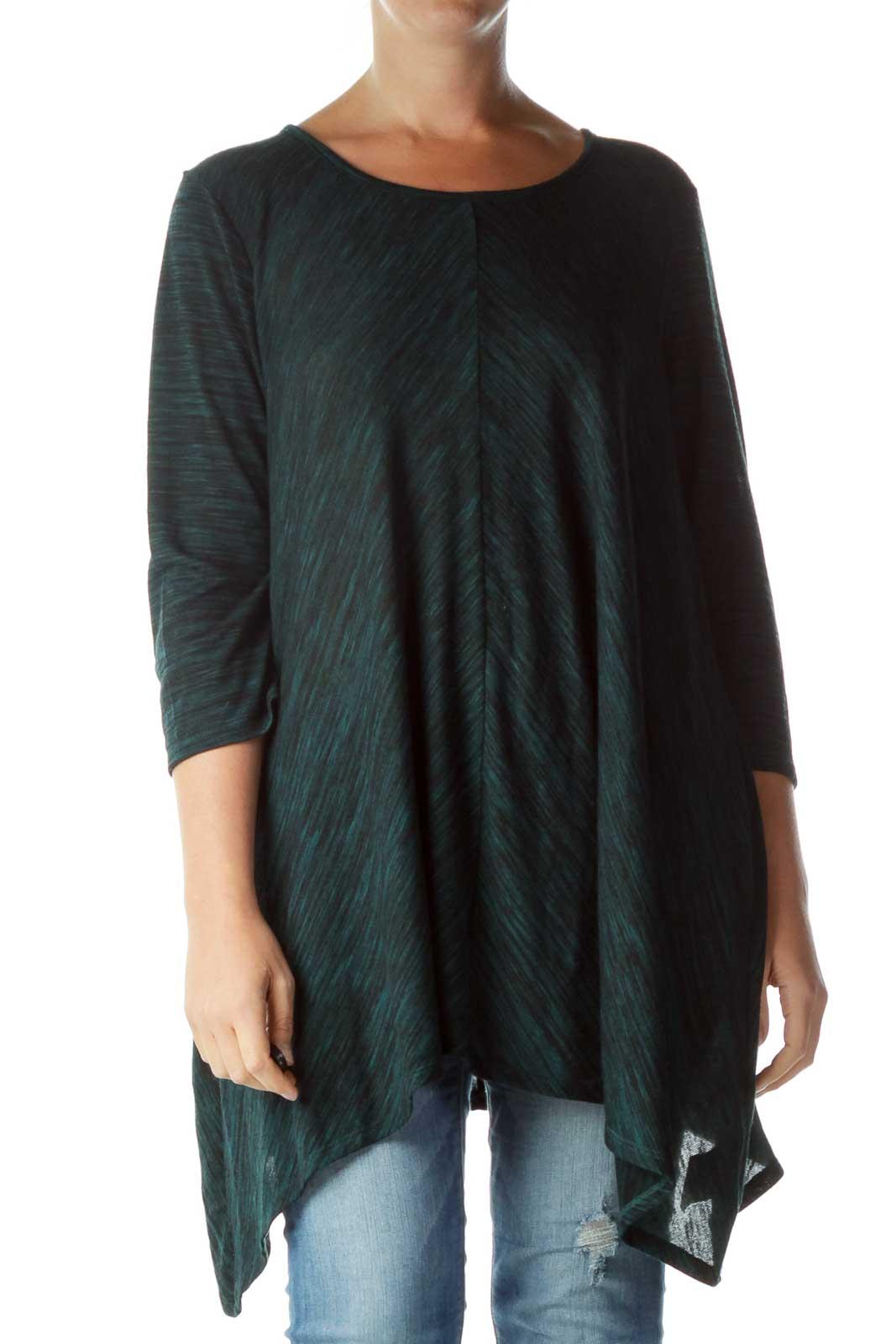 Green Black Mottled Shirt Front