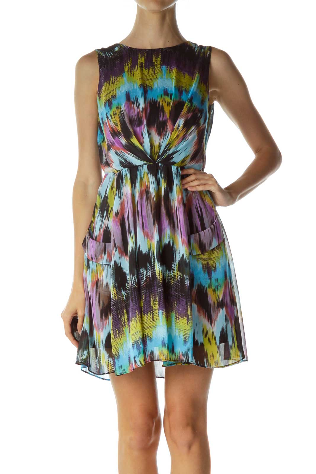 Multicolor Print Pocketed Flared Dress Front