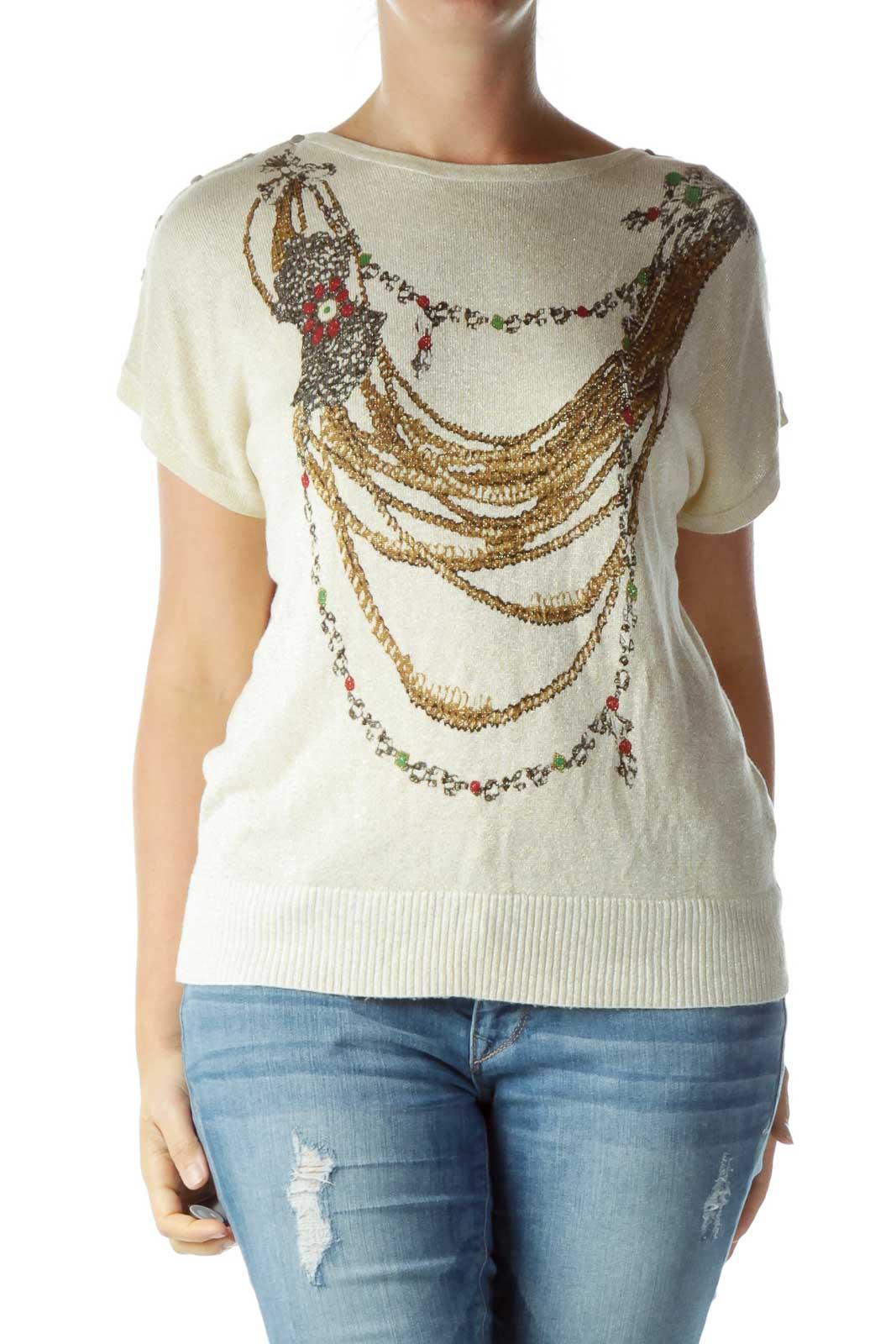 Beige Metallic Print Knit Top Front