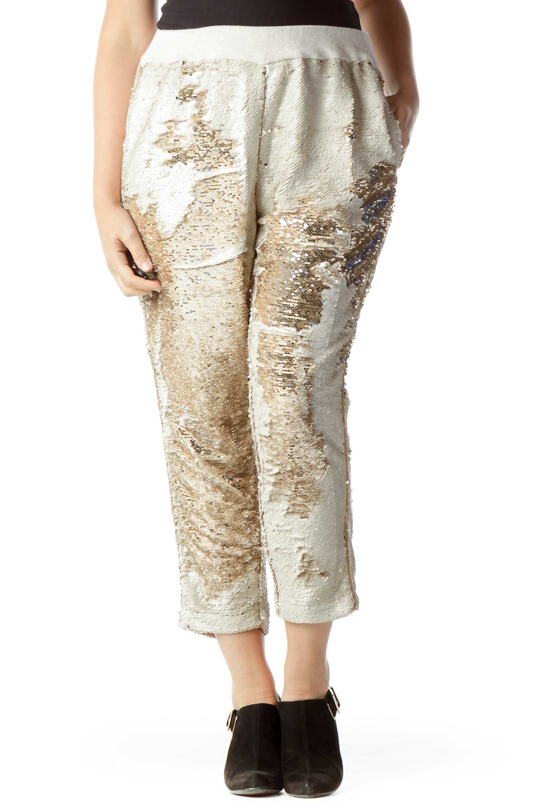 Beige Sequined Tapered Pants Front