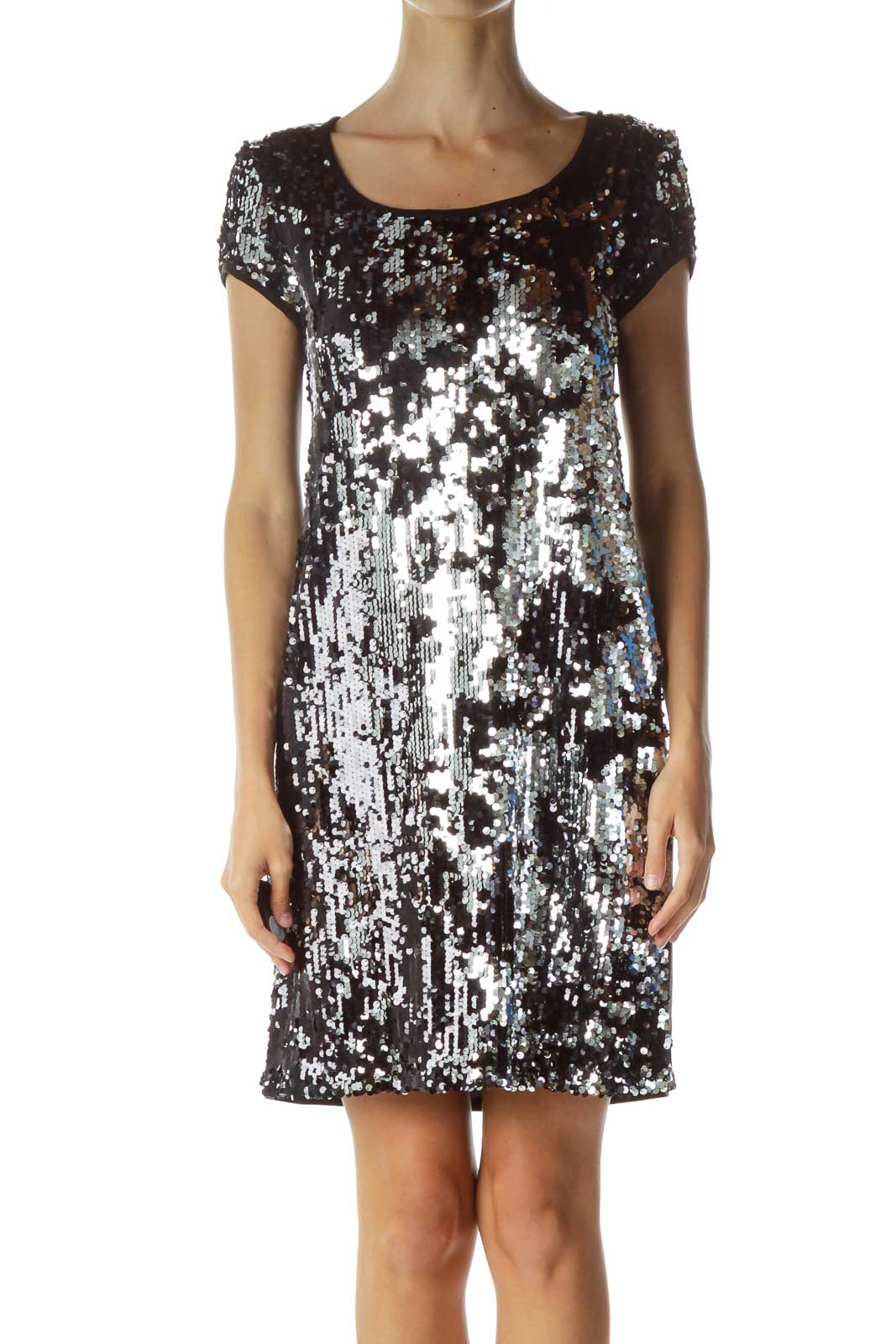 Black Silver Sequined Cocktail Dress Front