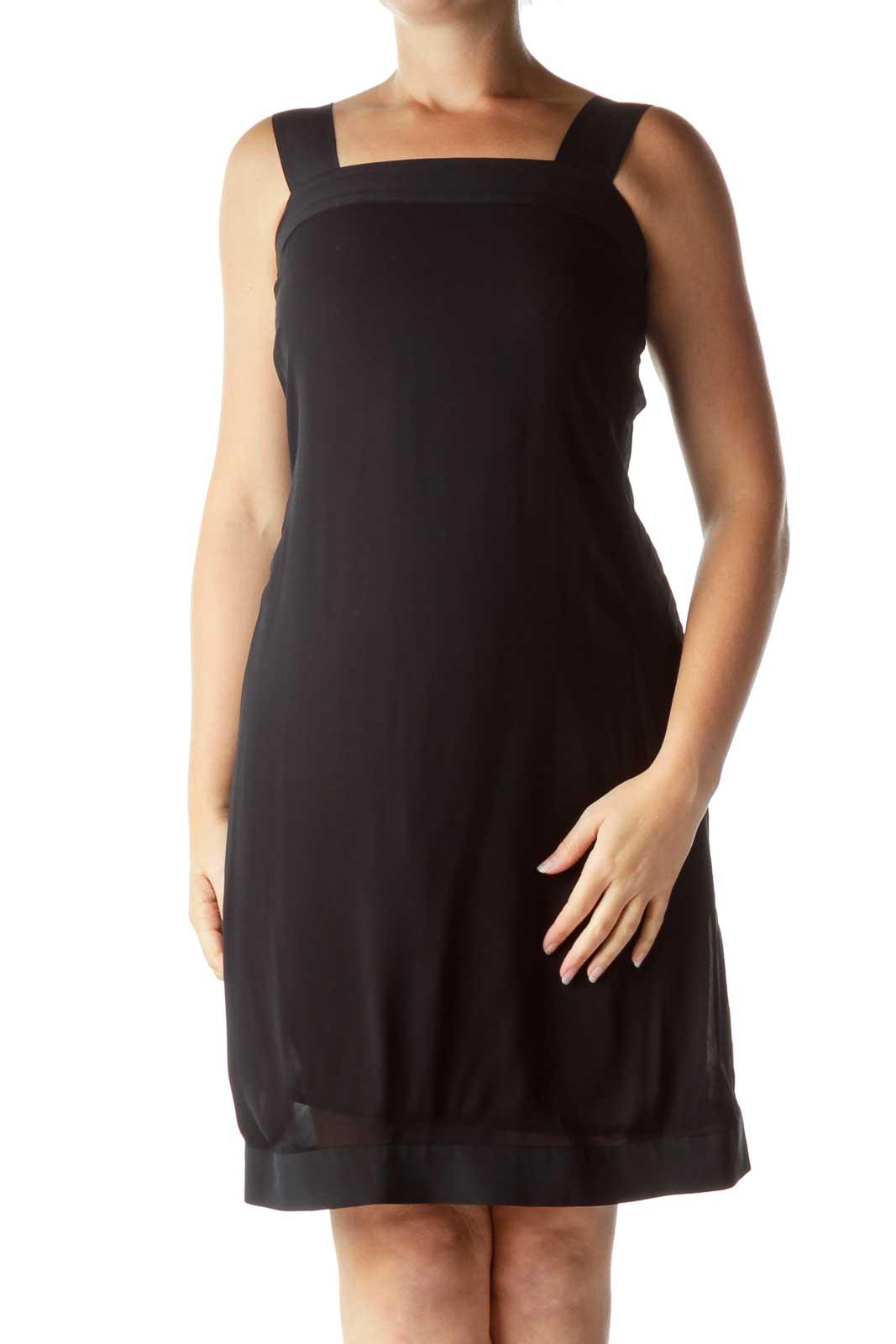 Black Open Back Cocktail Dress Front