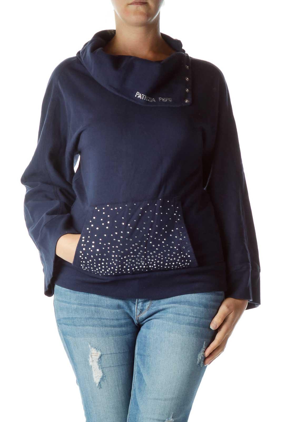 Navy Silver Gemstone Sweater Front