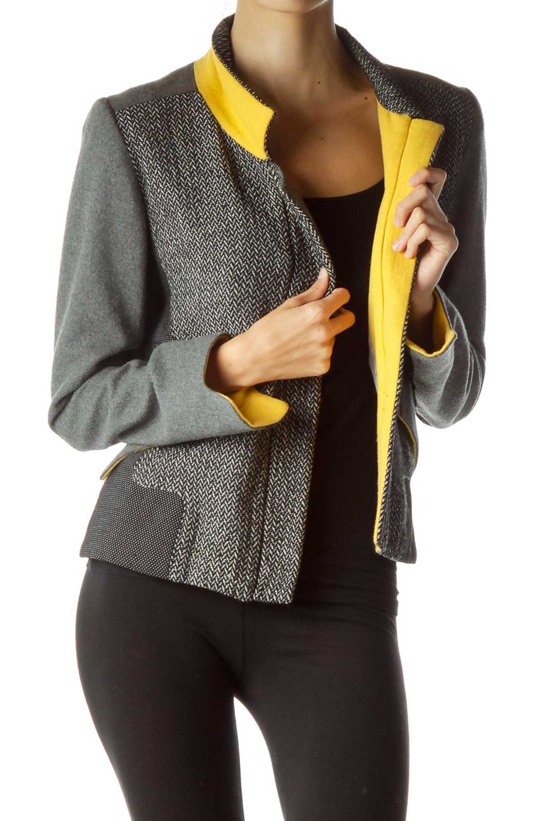 Gray Black Woven Detailed Fitted Jacket Front