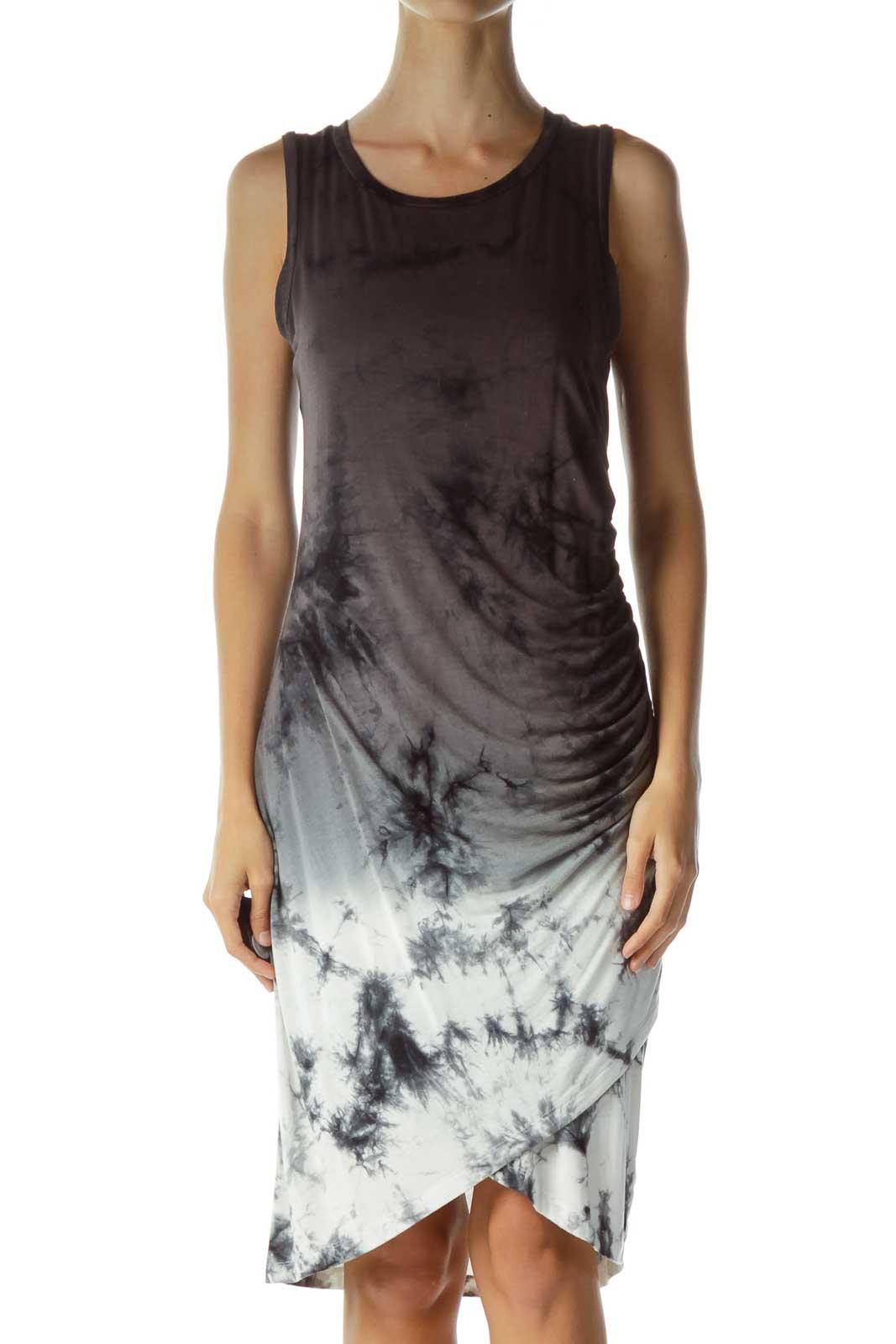 Gray Tie Dye Jersey Knit Dress Front