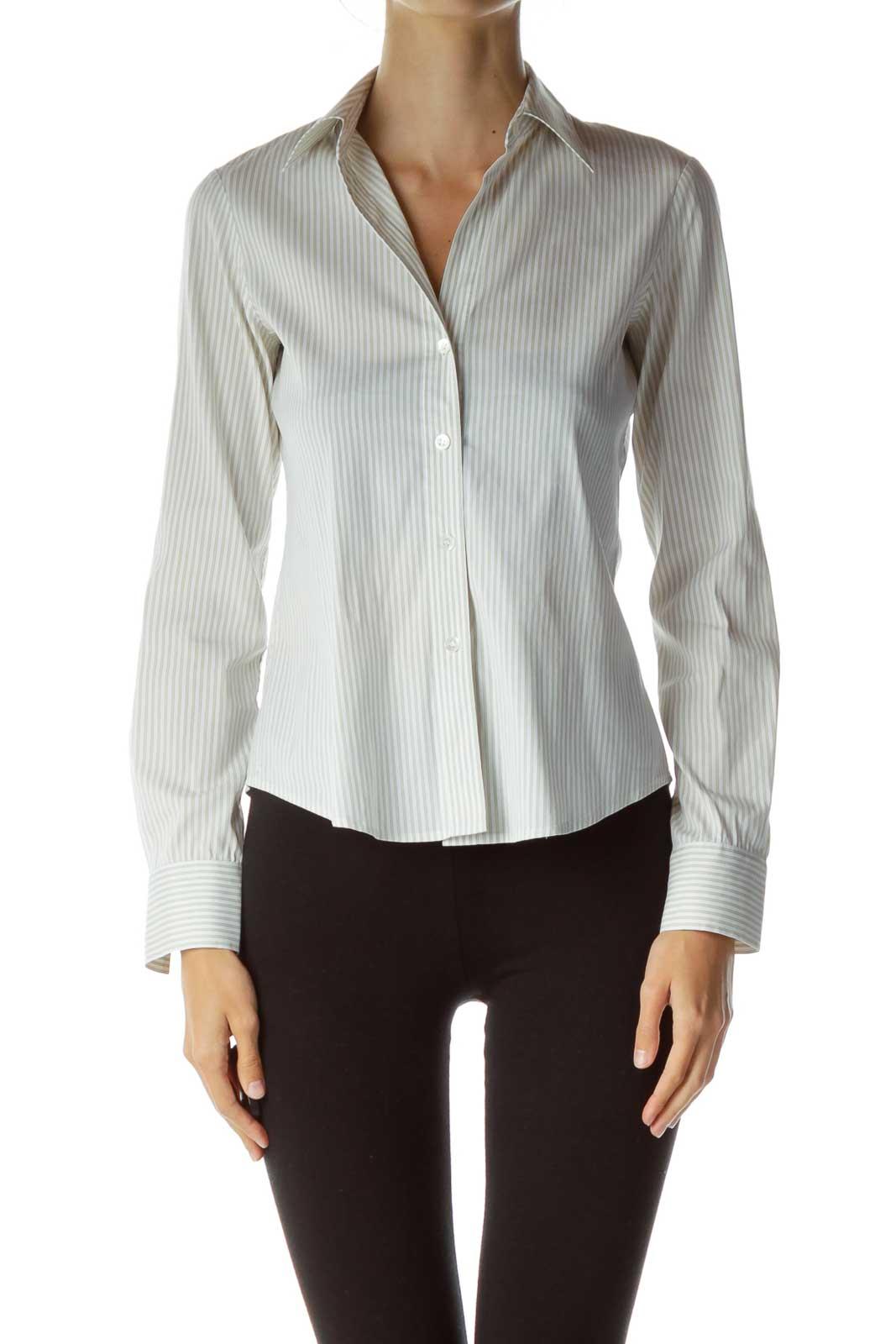 Green White Pinstripe Shirt Front