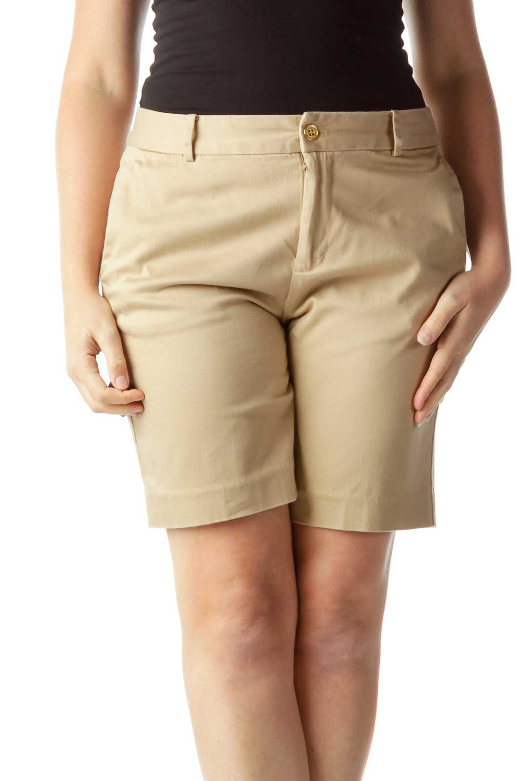 Beige High-Waisted Shorts Front