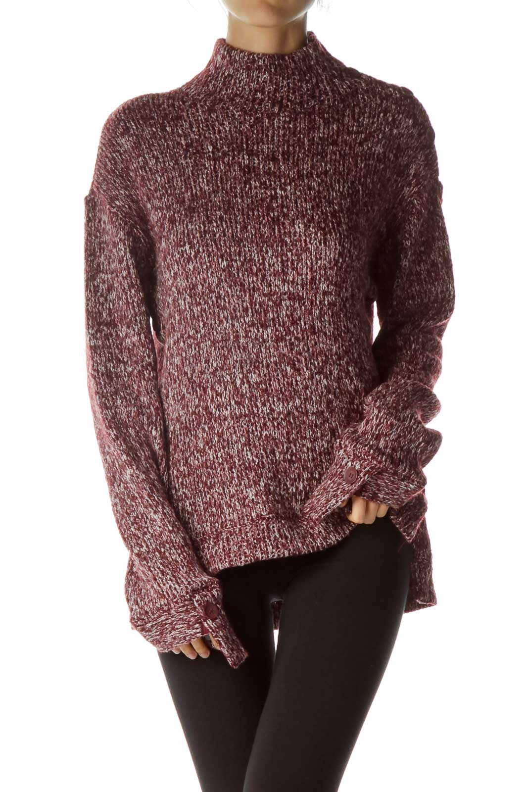 Red White Mottled Knit Sweater Front