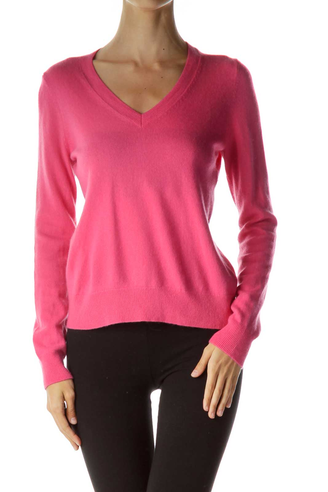 Pink Cashmere V-Neck Sweater Front