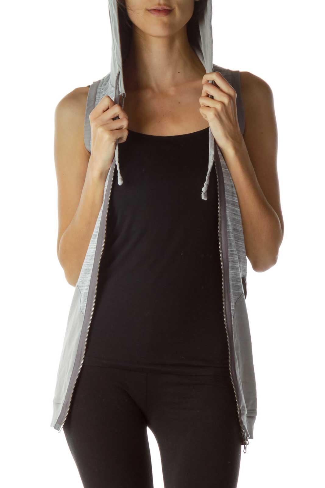 Gray Hooded Zipper Vest Front
