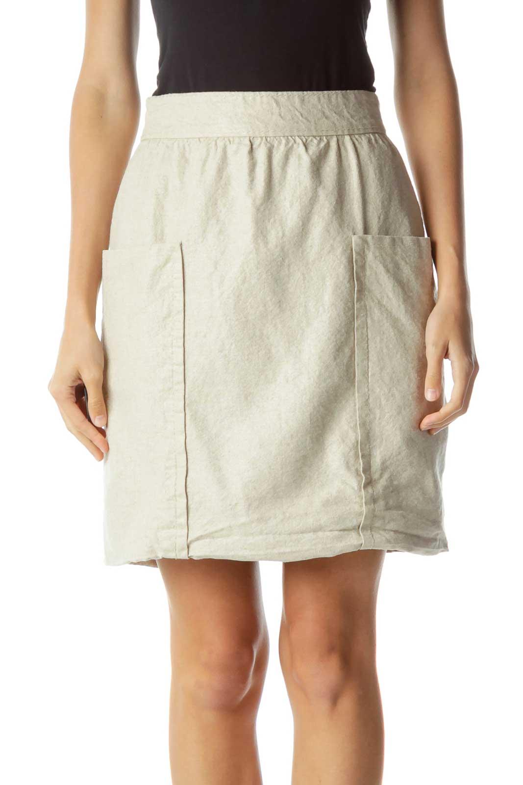 Beige Linen Pocketed Mini Skirt Front