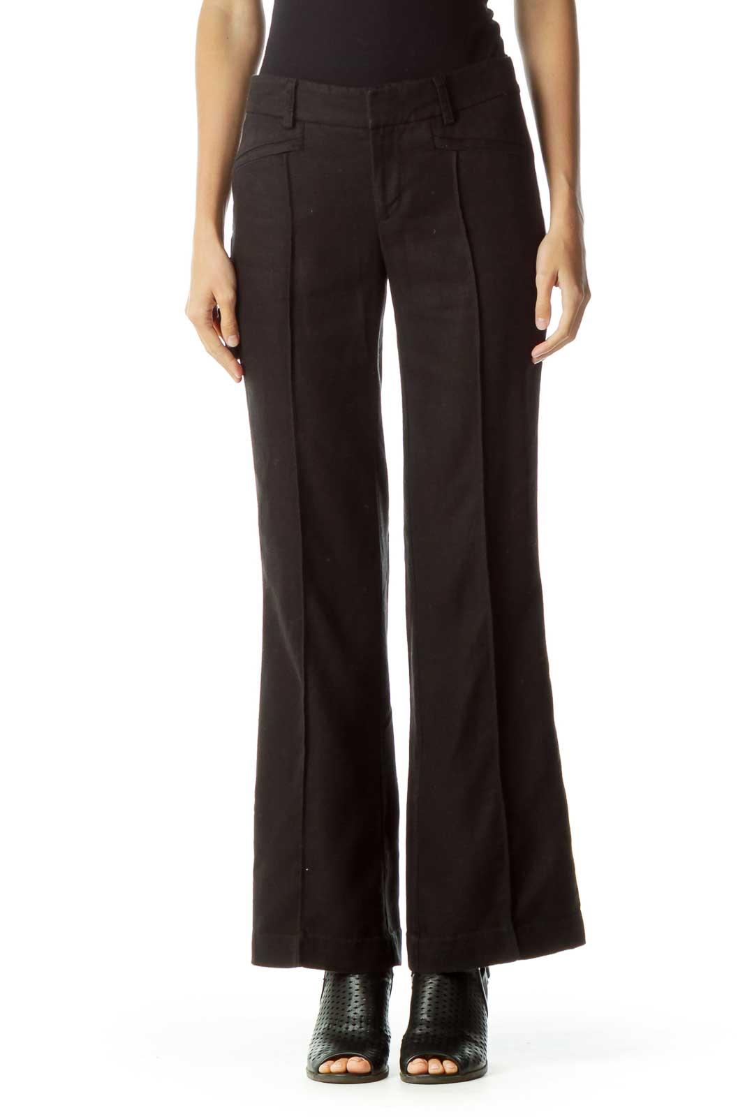 Black Linen Wide-Leg Pants Front