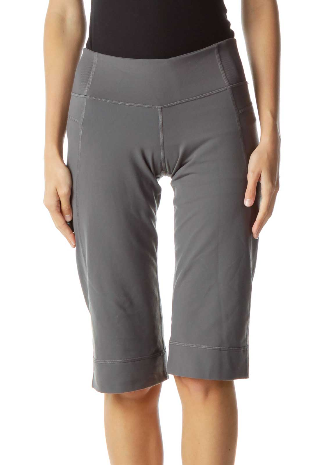 Gray Cropped Yoga Pants Front