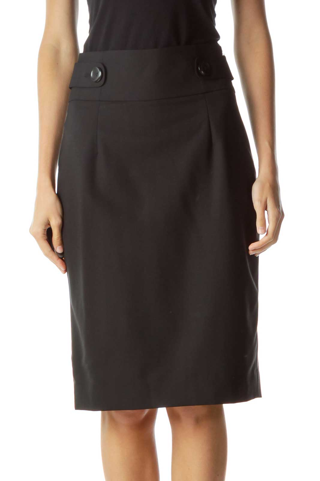 Black Buttoned Pencil Skirt Front