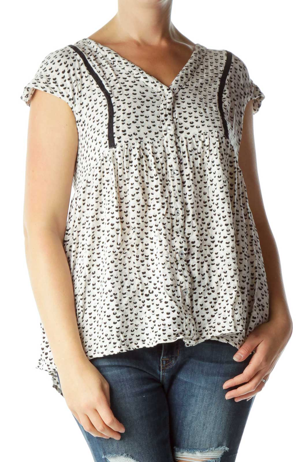 Cream Black Print Blouse Front