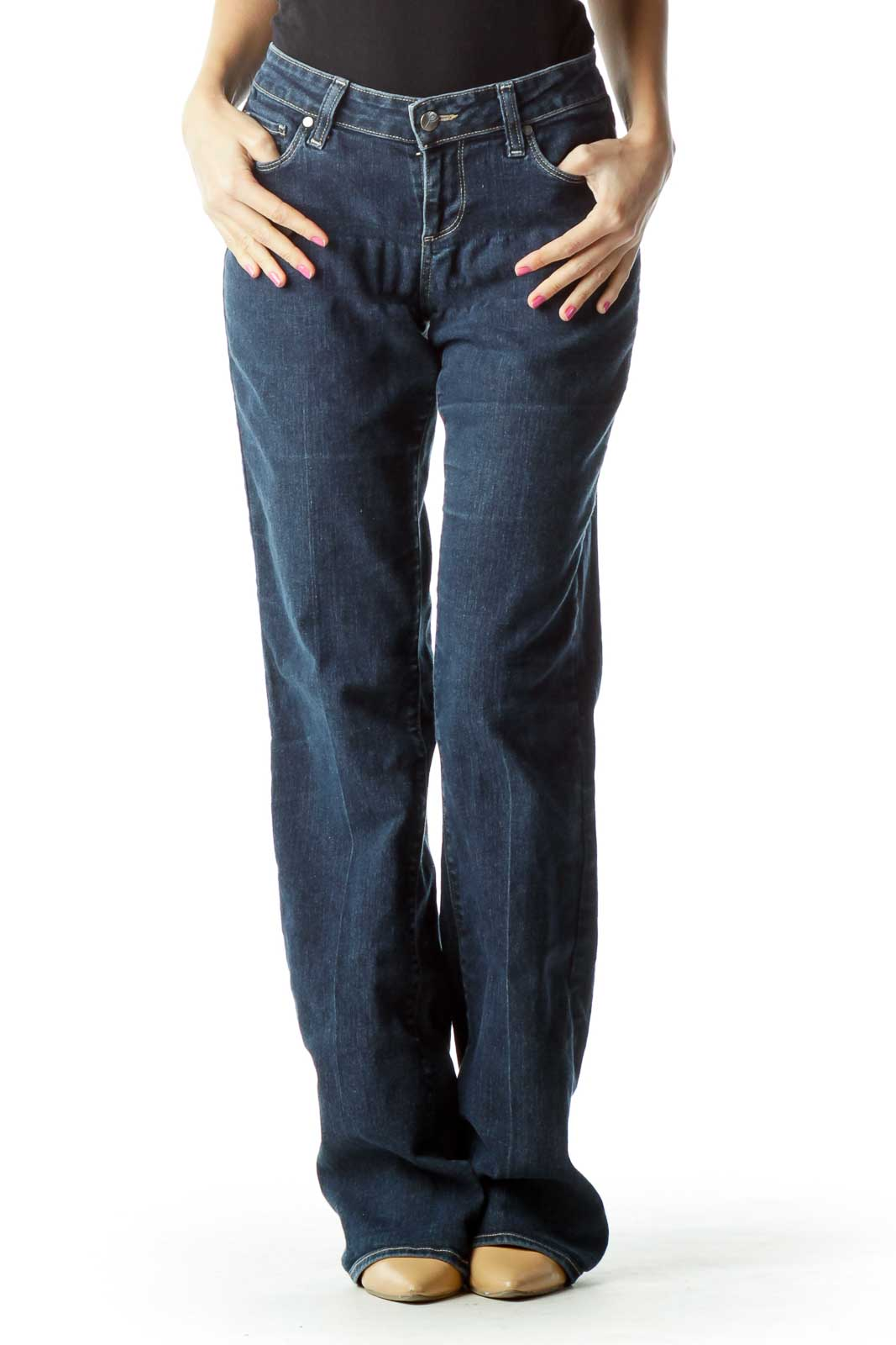 Navy Faded Flared Jeans Front