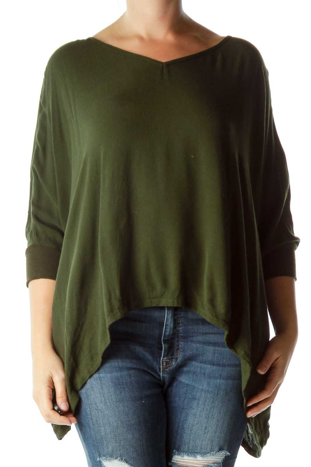Green Bat Sleeve Wide Blouse Front