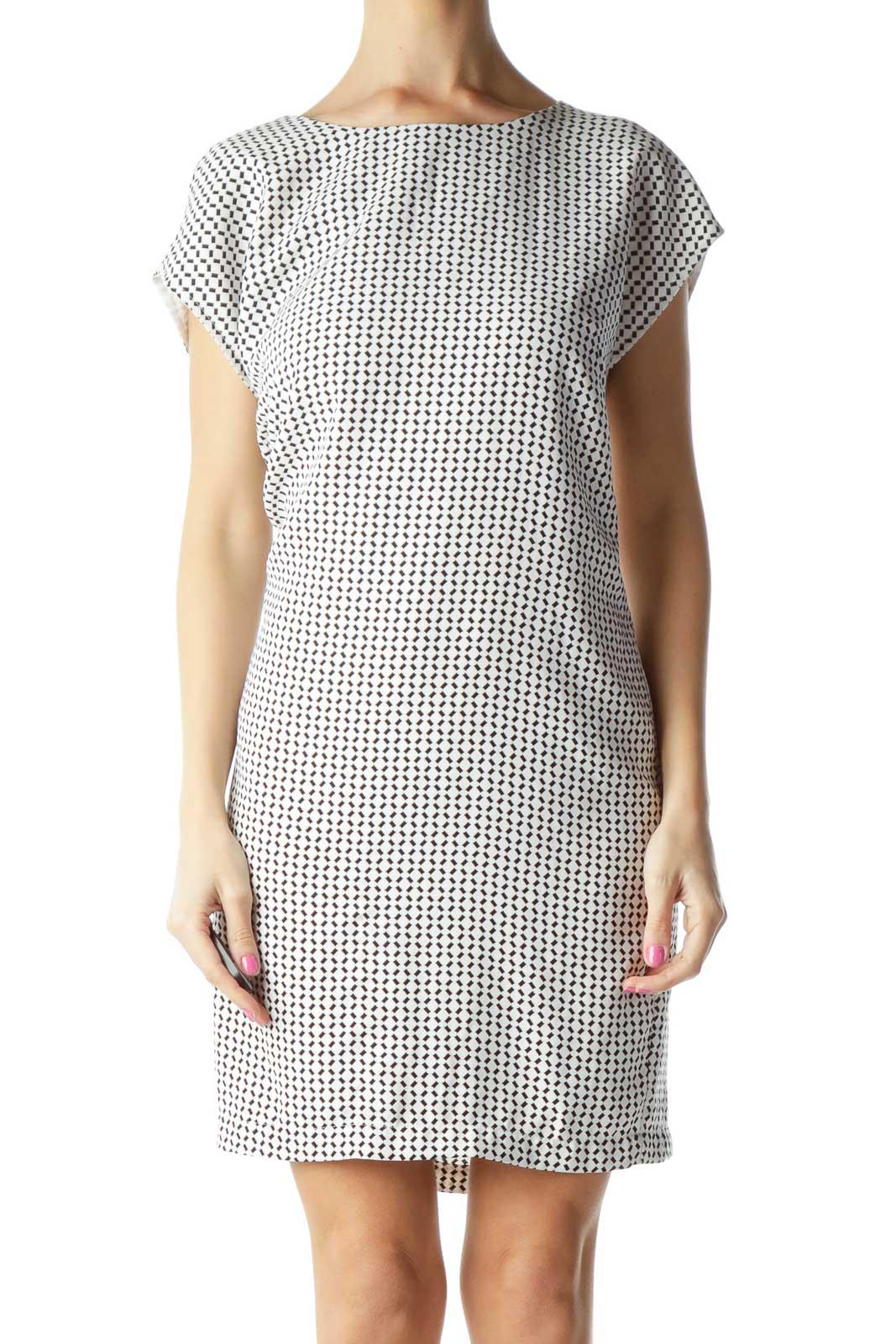 White Black Printed Shift Dress Front