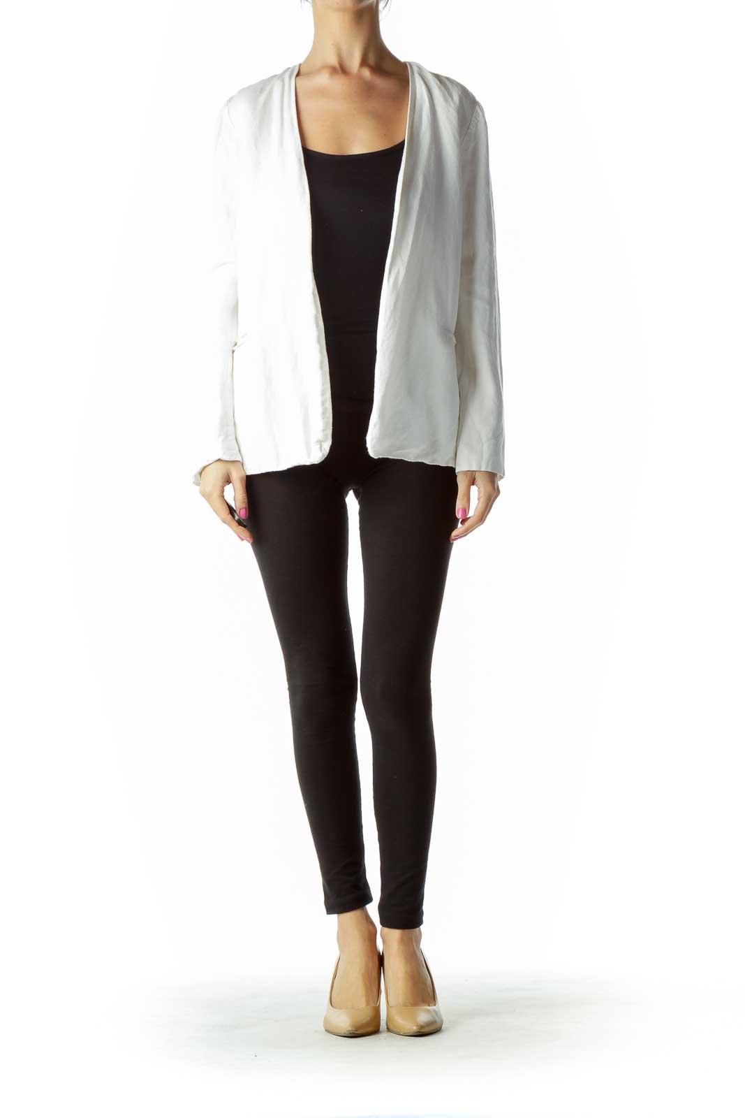 White Open Linen Blazer Front