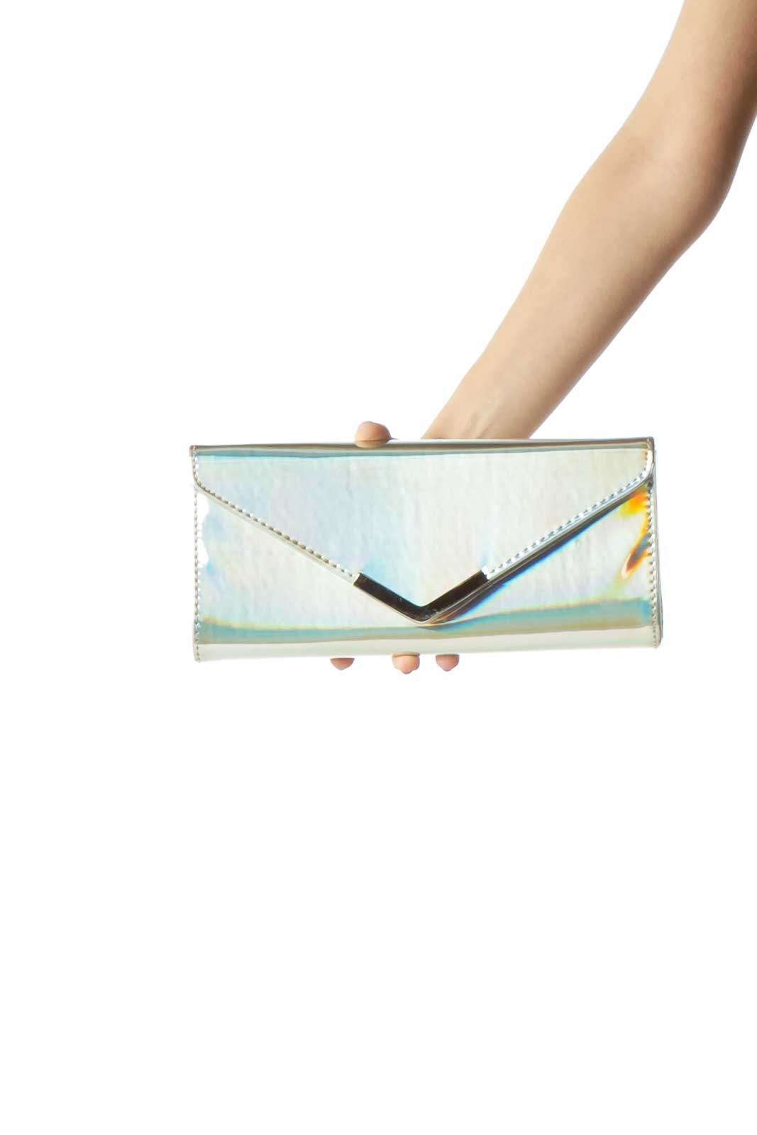 Silver Iridescent Clutch  Front