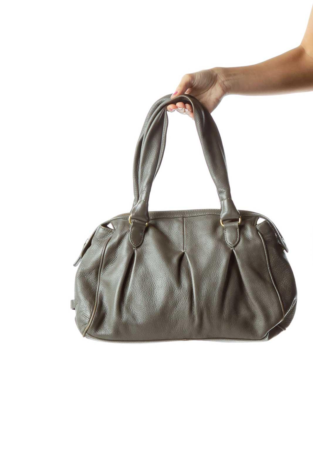 Gray Leather Shoulder Bag Front