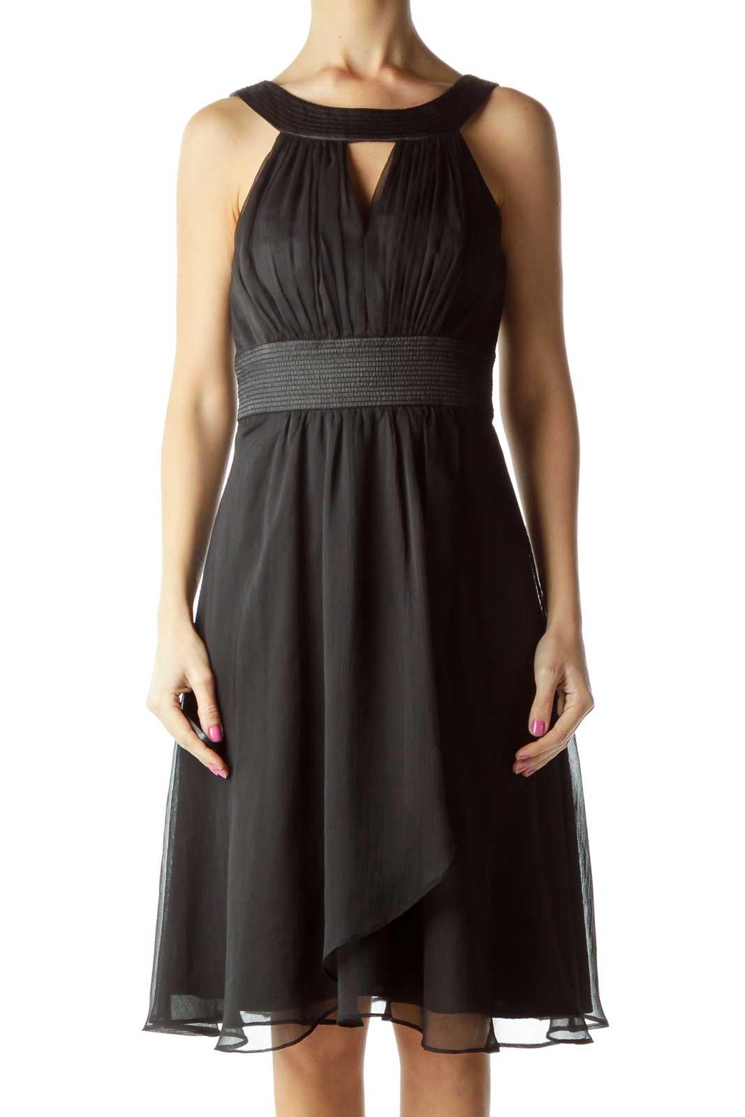 Black A-Line Cocktail Dress Front