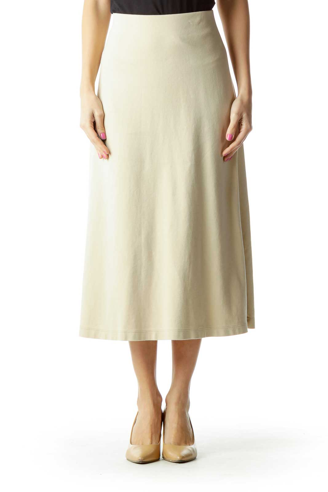 Beige A-Line Maxi Skirt Front