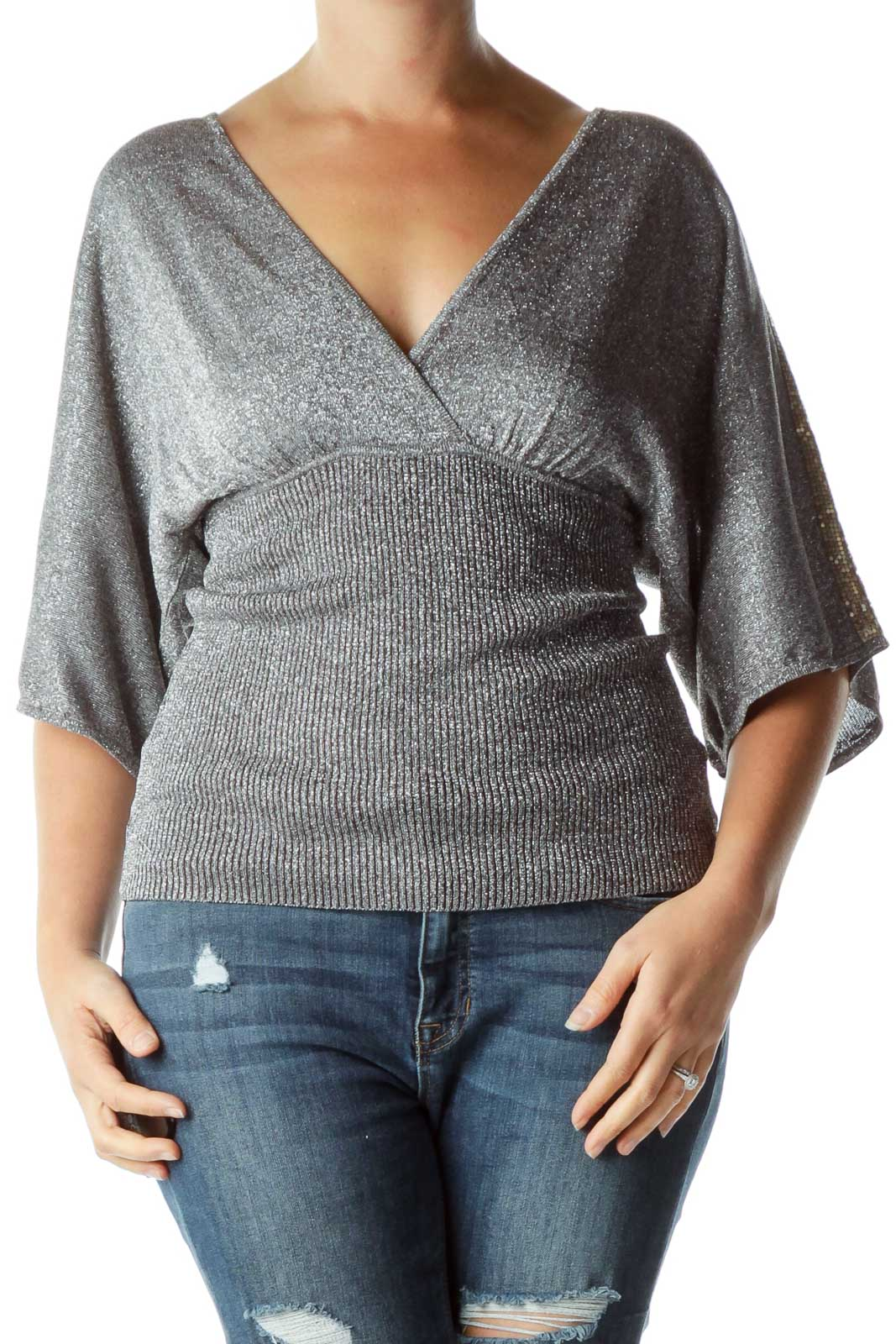 Silver Metallic V-Neck Banded Top Front