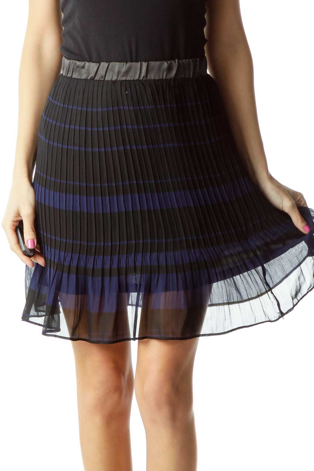 Black Blue Pleated Skirt Front