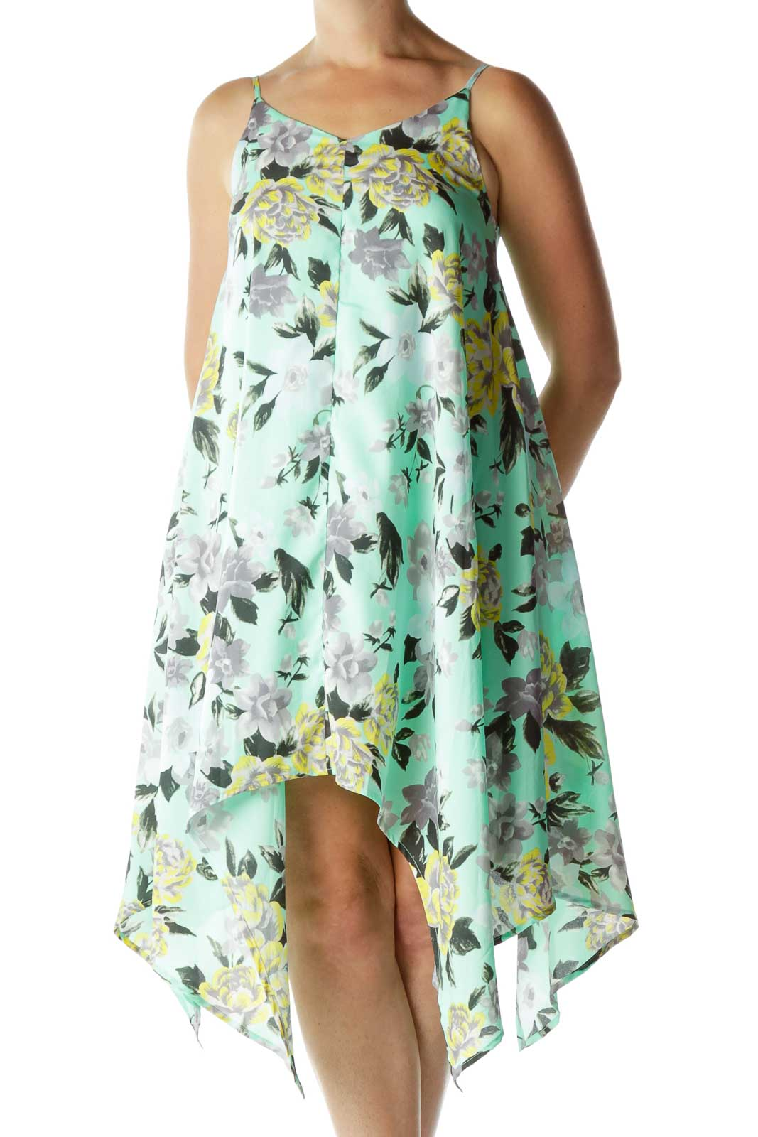 Green Flower Print Tent Dress Front