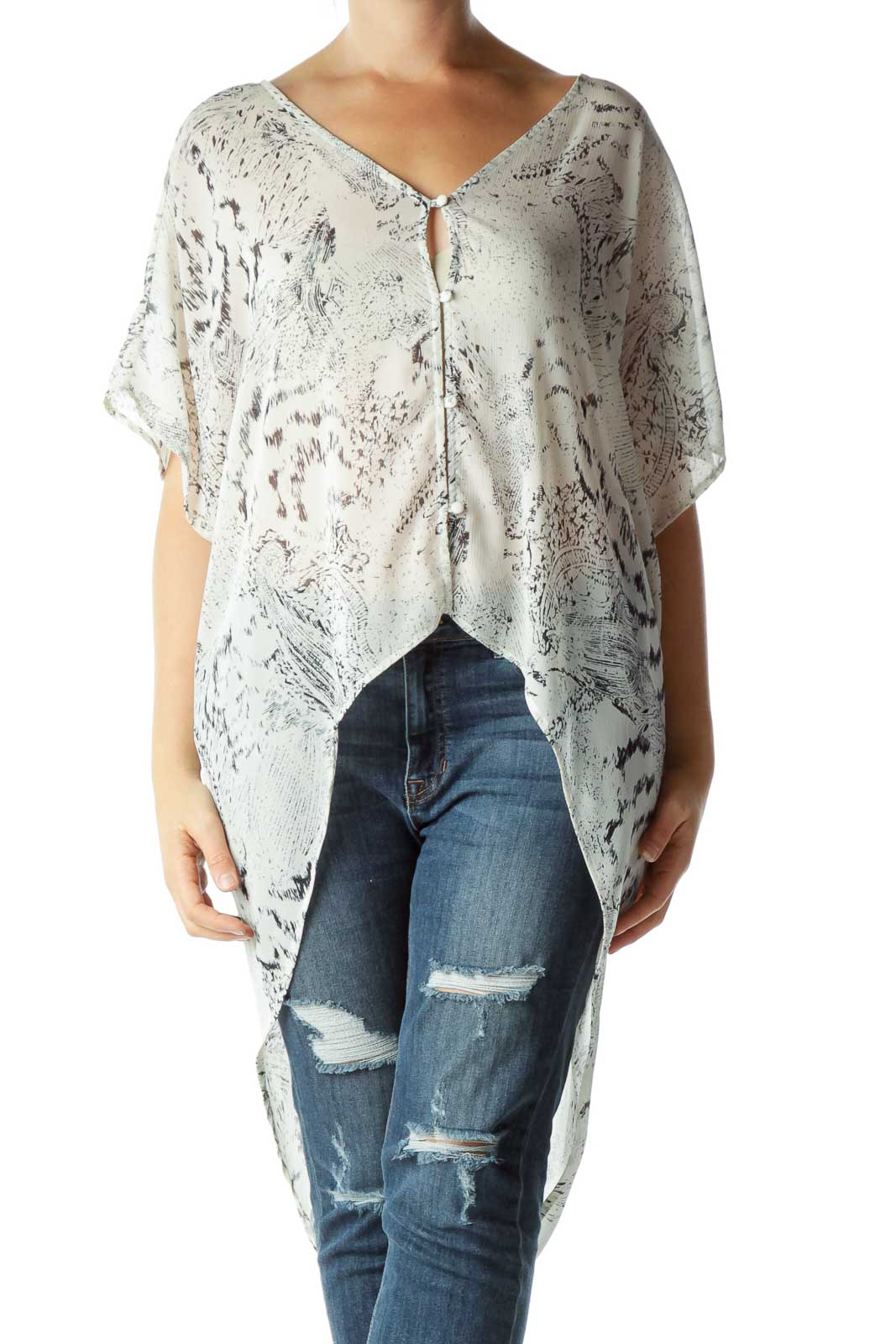 Cream Black Printed Blouse Front