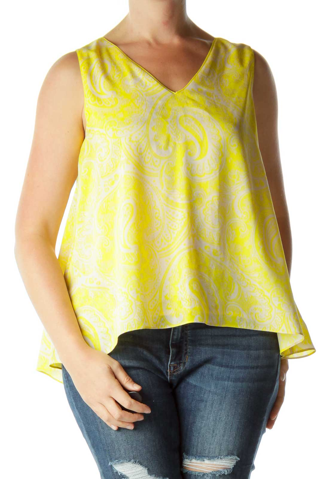 Yellow Beige Sleeveless Blouse Front