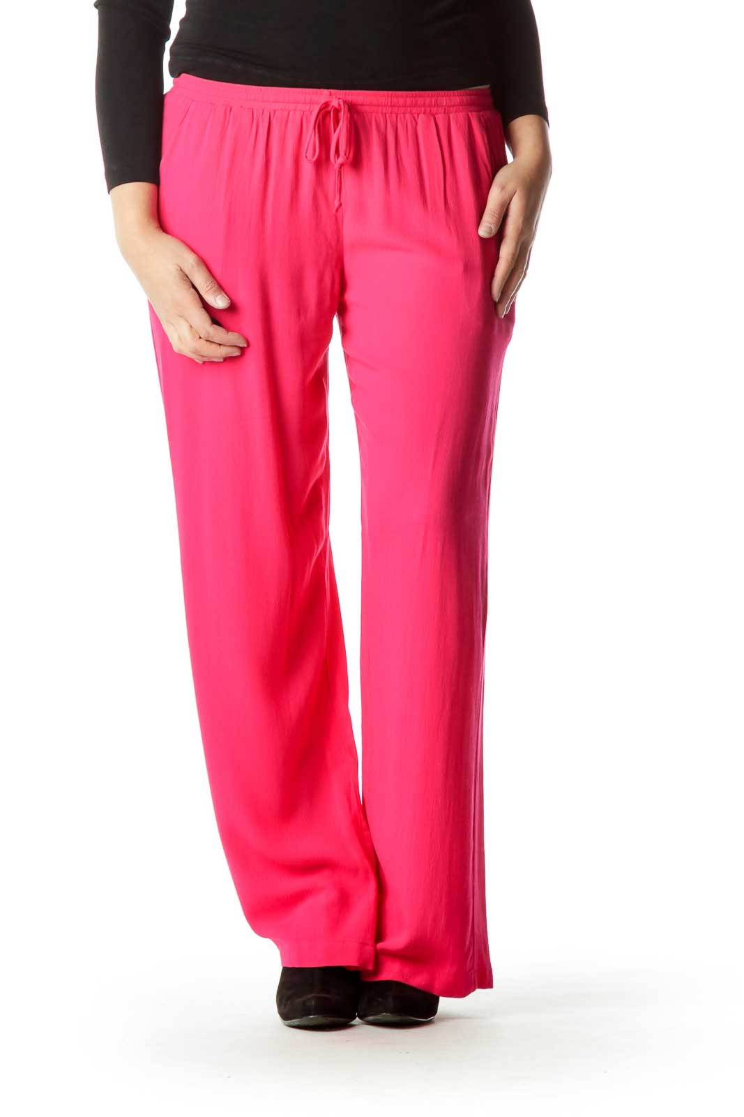 Pink Drawstring Track Pants Front