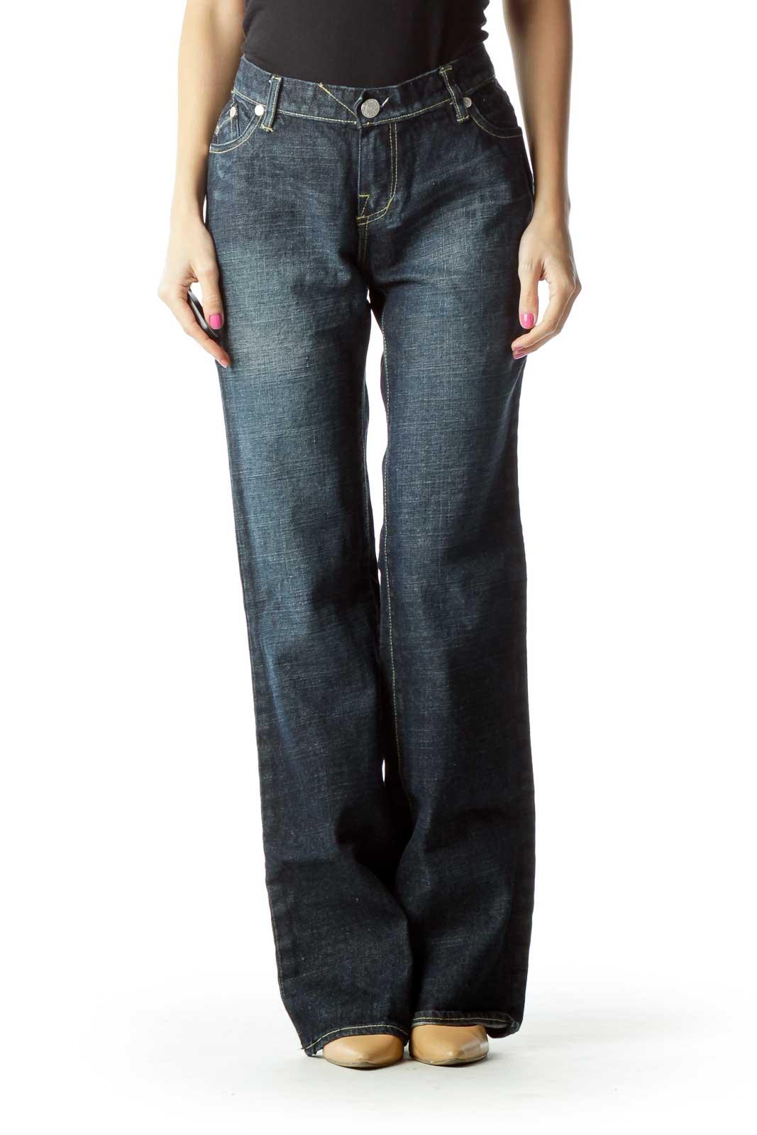 Navy Wide-Leg Denim Jeans Front