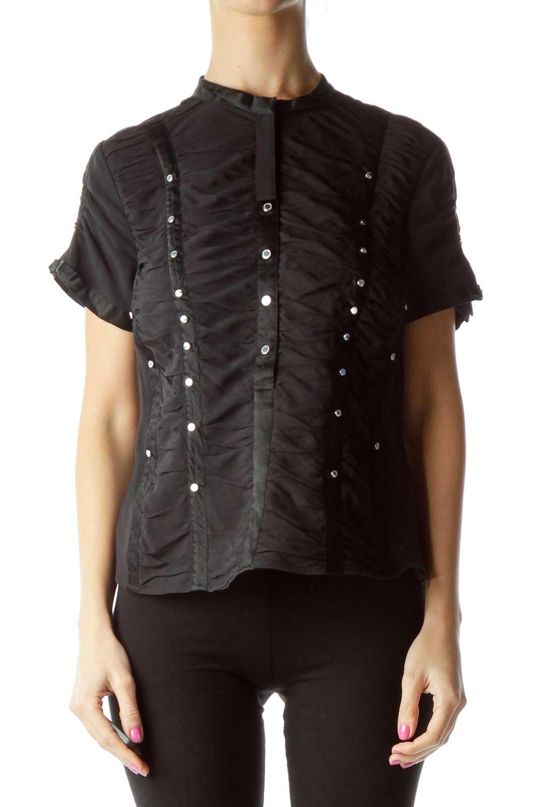 Black Silk Corset Style Blouse Front