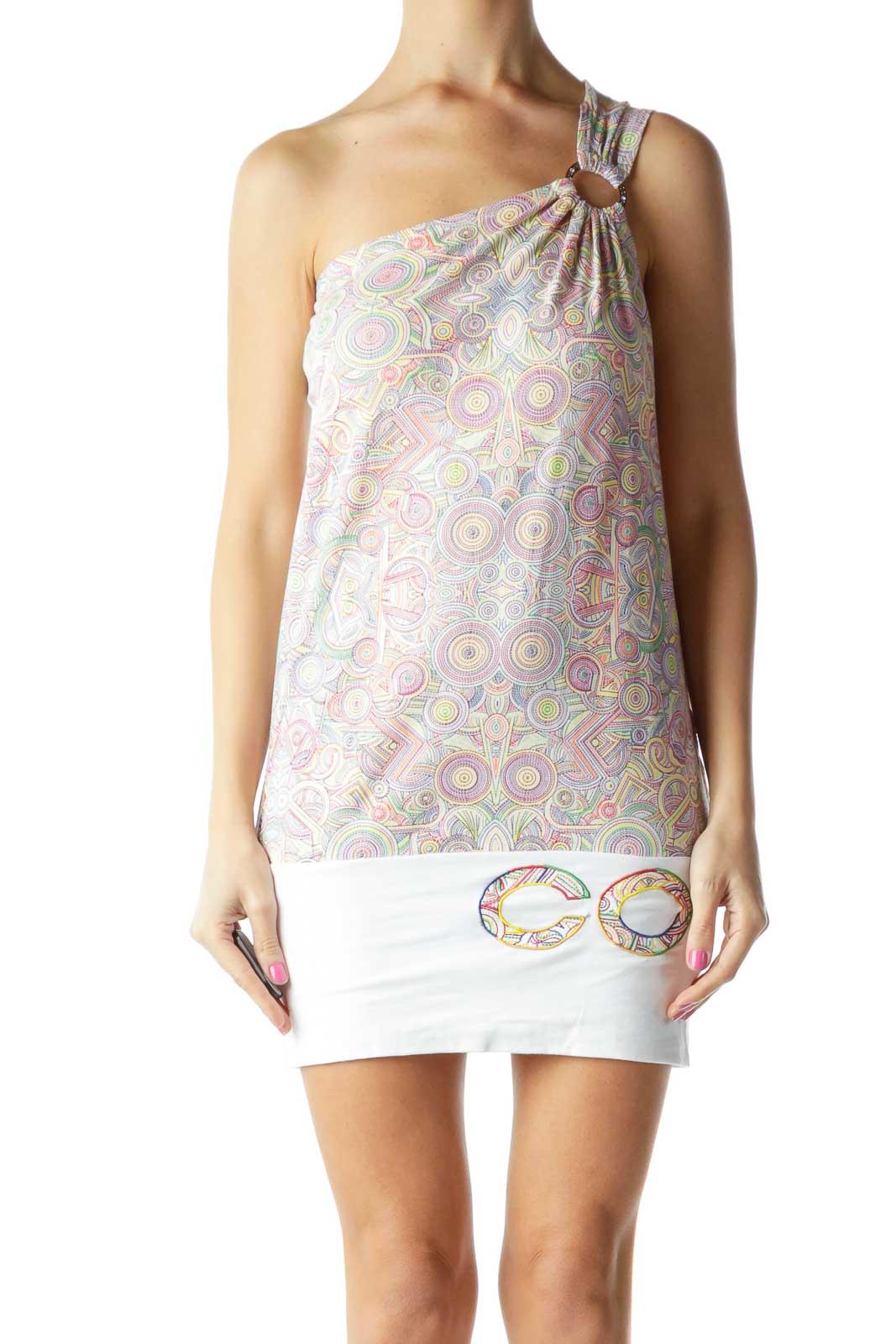 Multicolor Printed One-Shoulder Day Dress Front