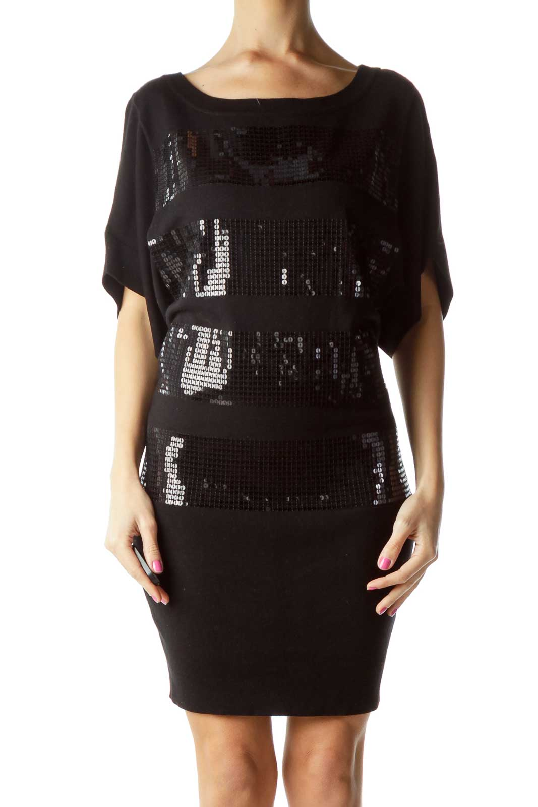 Black Sequined Striped Knit Dress Front