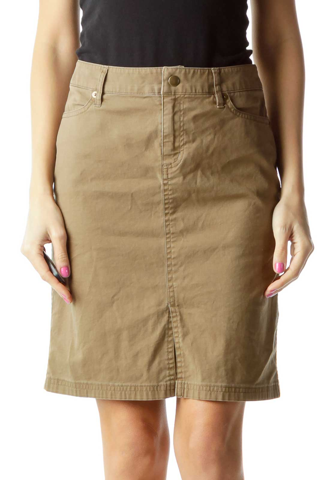 Brown Khaki Pocketed Skirt Front