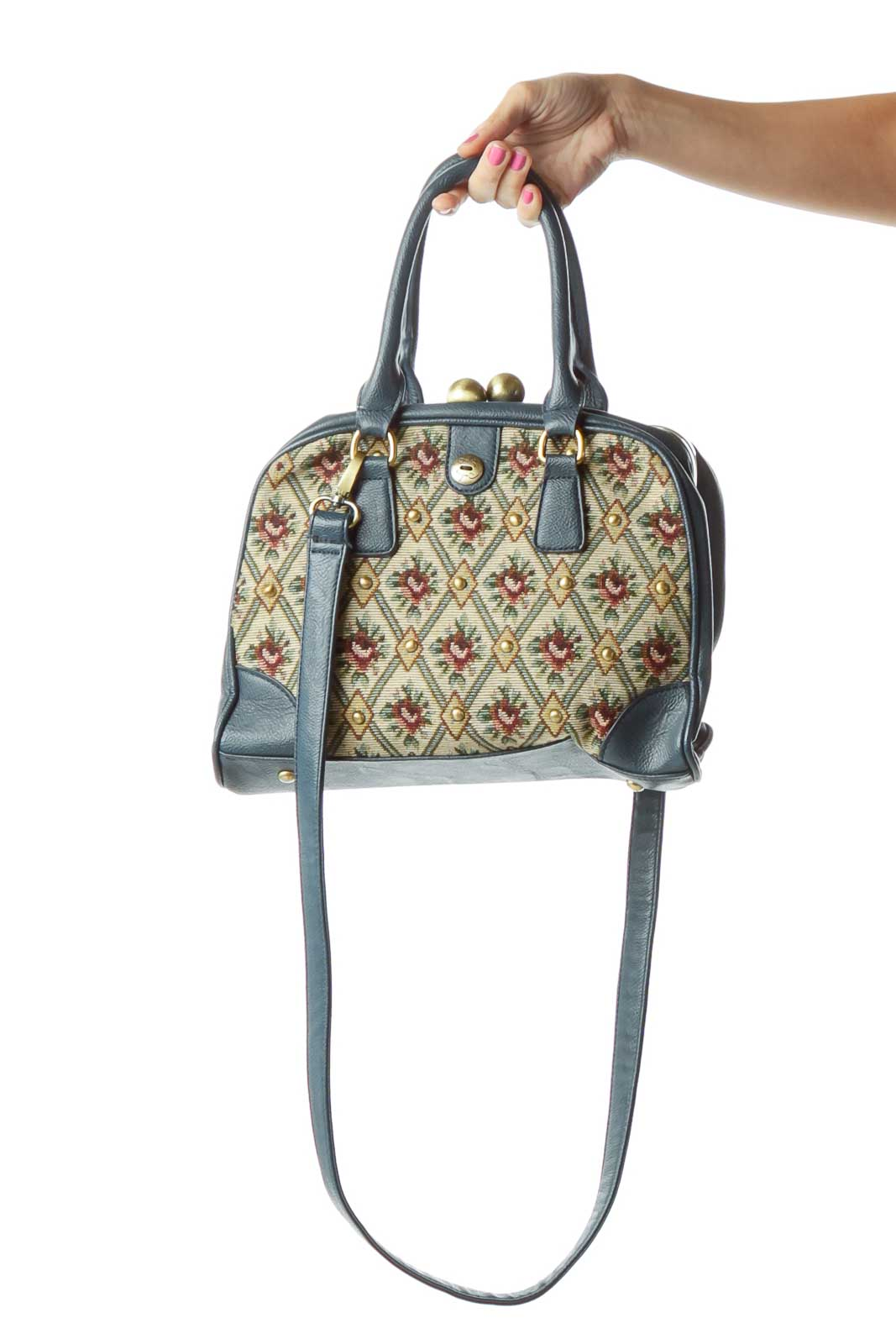 Blue Floral Woven Leather Trim Satchel Front