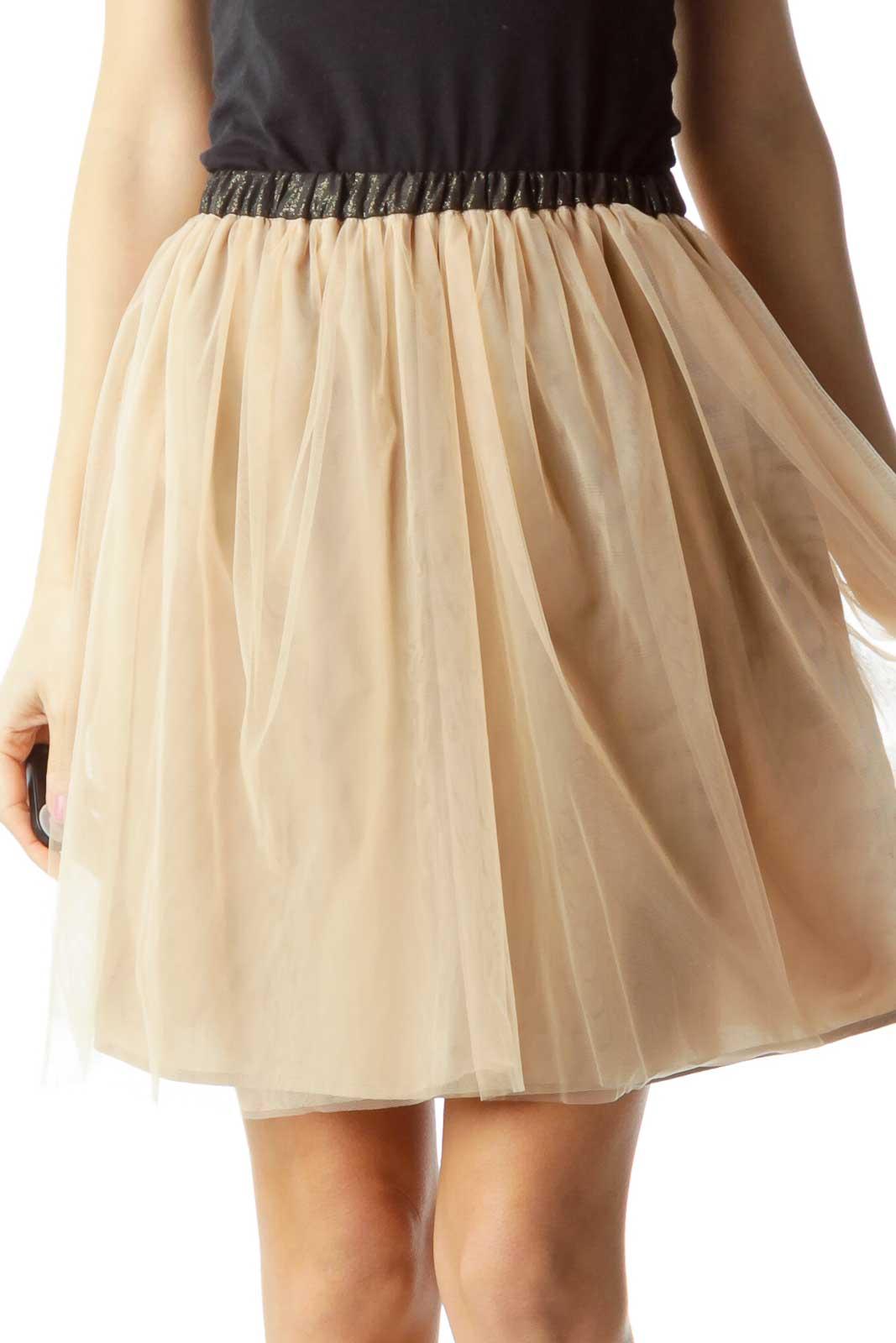 Beige Black Tool Pleated Skirt Front