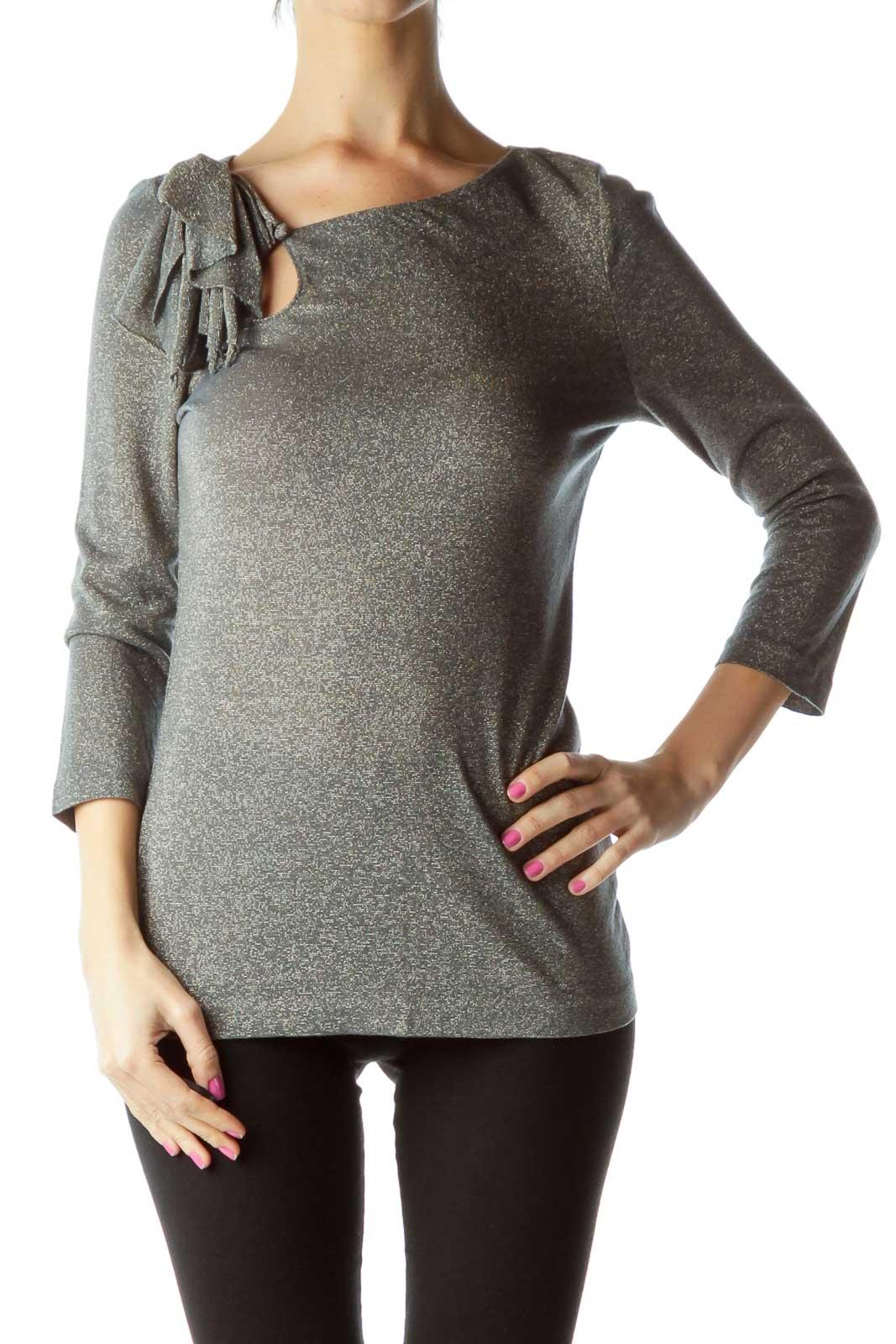 Gray Metallic 3/4 Sleeve Blouse Front
