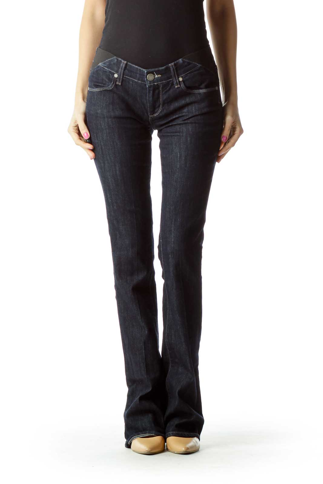 Navy Wide-Leg Jeans with Band Detail Front