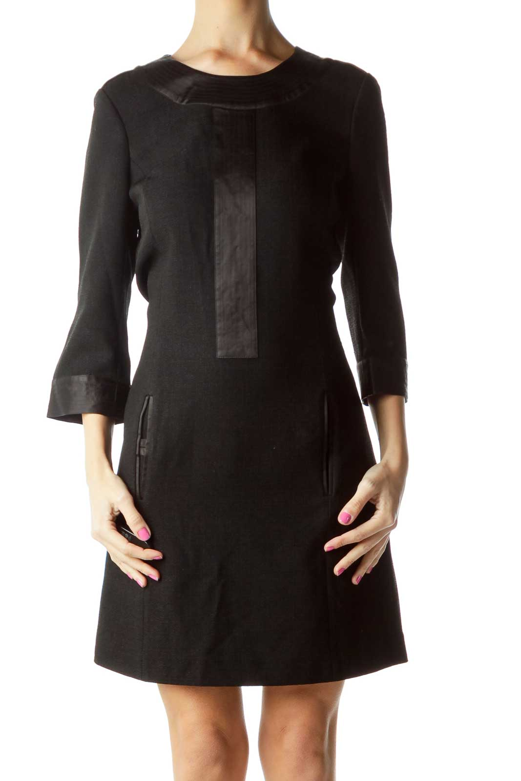 Black 3/4 Sleeve Shift Work Dress Front